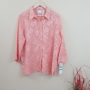 NWT Alfred Dunner Button Down Shirt Peach Size 16